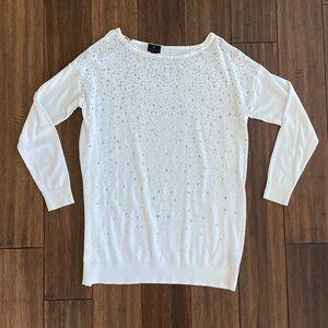 Worthington White Sweater w/ Embellishments sz M